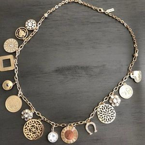 THE LIMITED GOLD TONE CHARM NECKLACE NWOT